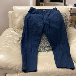 J.Crew Navy Embroidered Mercantile Cropped Pants S